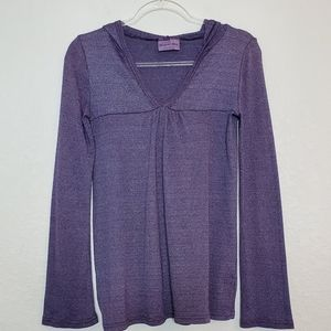 MICHAEL STARS | Hooded Tunic Pullover Top Purple